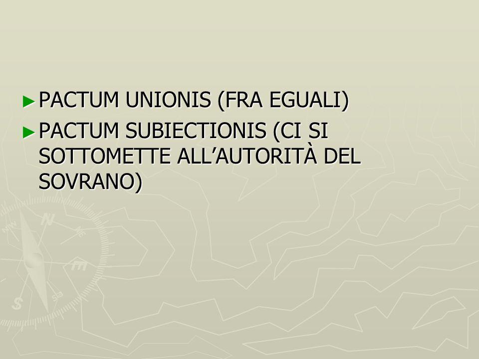 ► PACTUM UNIONIS (FRA EGUALI) ► PACTUM SUBIECTIONIS (CI SI SOTTOMETTE ALL'AUTORITÀ DEL SOVRANO)
