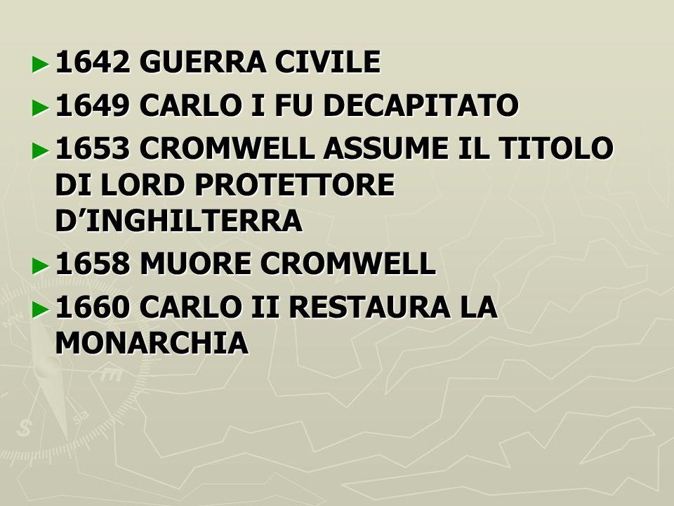 ► 1642 GUERRA CIVILE ► 1649 CARLO I FU DECAPITATO ► 1653 CROMWELL ASSUME IL TITOLO DI LORD PROTETTORE D'INGHILTERRA ► 1658 MUORE CROMWELL ► 1660 CARLO