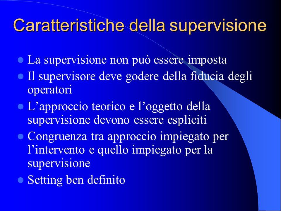 Caratteristiche della supervisione La supervisione non può essere imposta Il supervisore deve godere della fiducia degli operatori L'approccio teorico e l'oggetto della supervisione devono essere espliciti Congruenza tra approccio impiegato per l'intervento e quello impiegato per la supervisione Setting ben definito