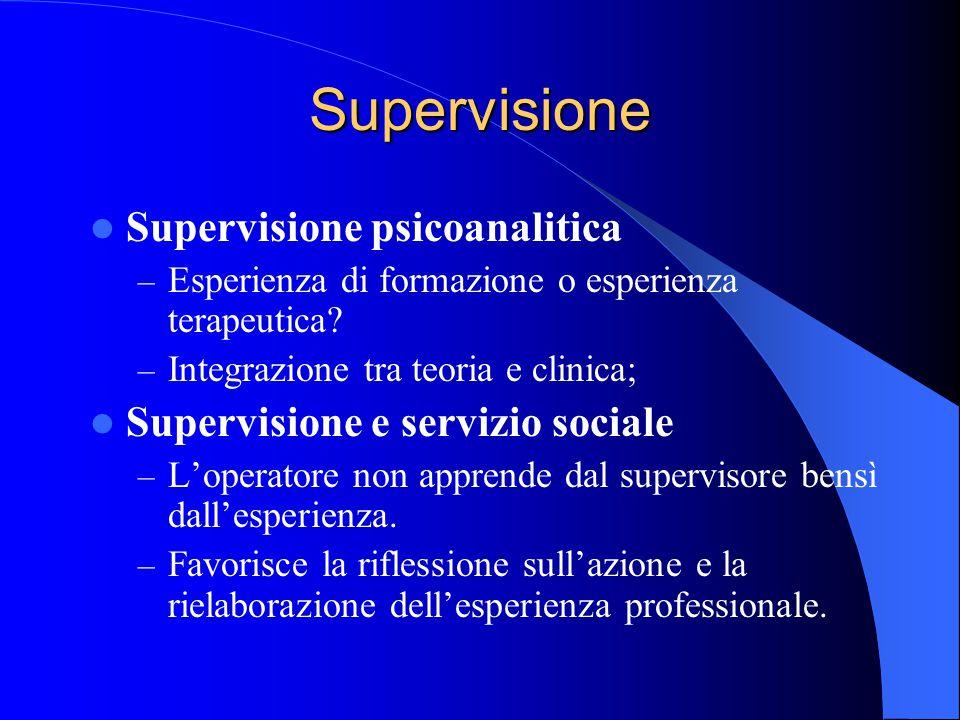 Supervisione Supervisione psicoanalitica – Esperienza di formazione o esperienza terapeutica.