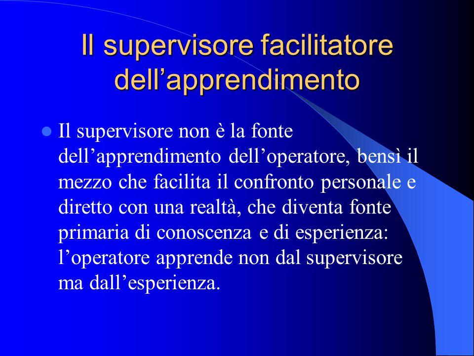 Il supervisore facilitatore dell'apprendimento Il supervisore non è la fonte dell'apprendimento dell'operatore, bensì il mezzo che facilita il confronto personale e diretto con una realtà, che diventa fonte primaria di conoscenza e di esperienza: l'operatore apprende non dal supervisore ma dall'esperienza.