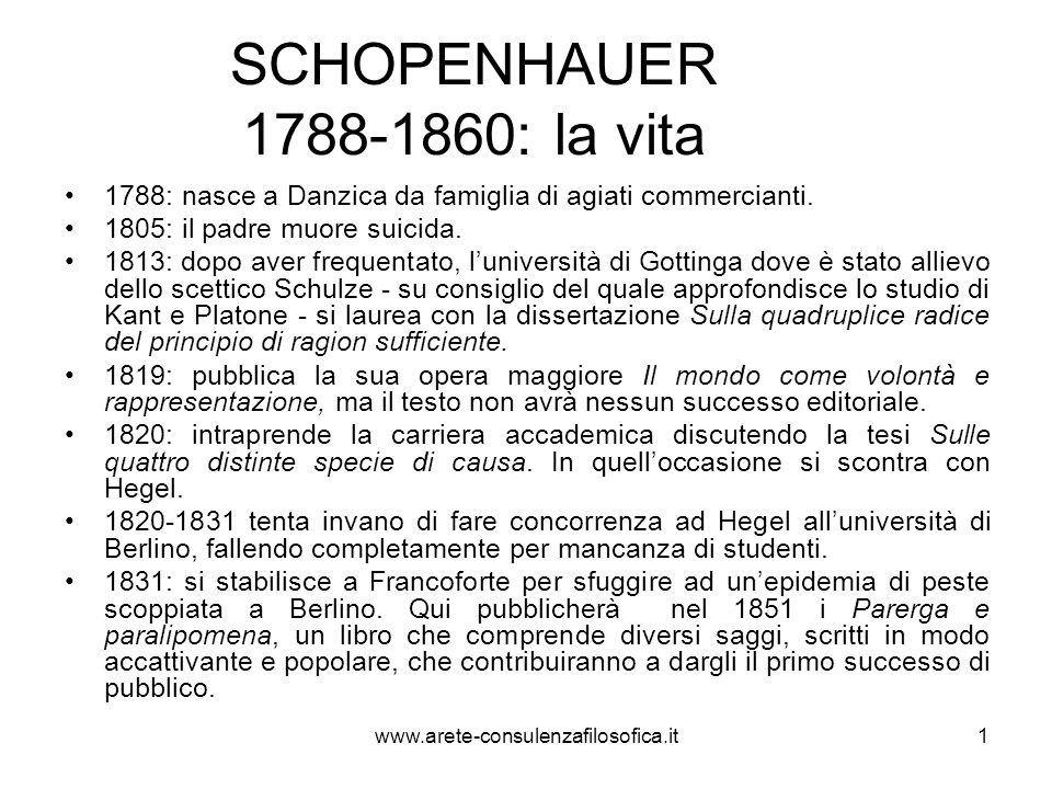 2 SCHOPENHAUER 1788-1860: la vita 1836: a Francoforte pubblica la Volontà della natura in cui i suoi interessi scientifici si fondono con lo studio del pensiero orientale.