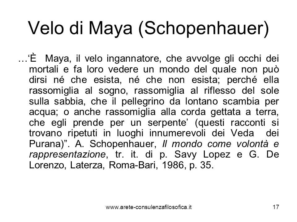 Velo di Maya (Schopenhauer) …'È Maya, il velo ingannatore, che avvolge gli occhi dei mortali e fa loro vedere un mondo del quale non può dirsi né che