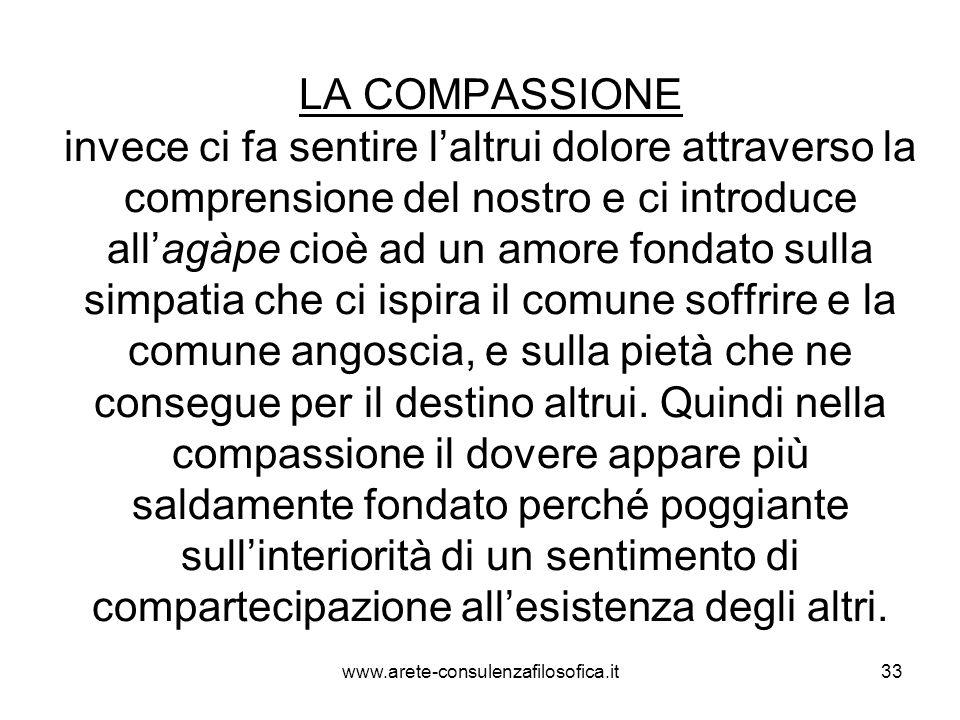 33 LA COMPASSIONE invece ci fa sentire l'altrui dolore attraverso la comprensione del nostro e ci introduce all'agàpe cioè ad un amore fondato sulla s
