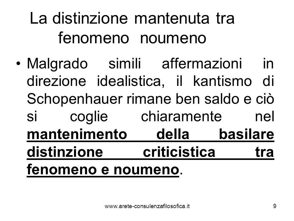 9 La distinzione mantenuta tra fenomeno noumeno Malgrado simili affermazioni in direzione idealistica, il kantismo di Schopenhauer rimane ben saldo e