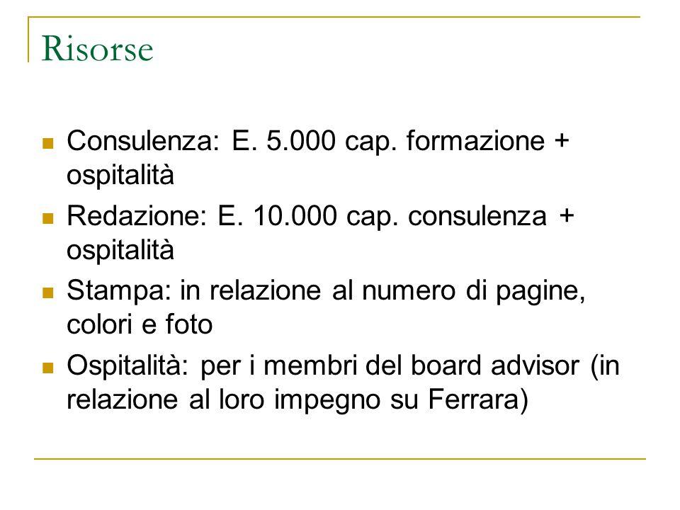 Risorse Consulenza: E. 5.000 cap. formazione + ospitalità Redazione: E.