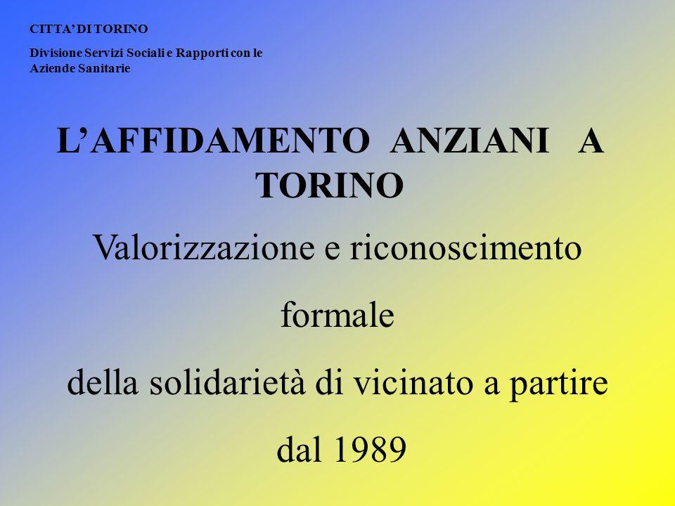 L'AFFIDAMENTO ANZIANI A TORINO Valorizzazione e riconoscimento formale della solidarietà di vicinato a partire dal 1989 CITTA' DI TORINO Divisione Ser