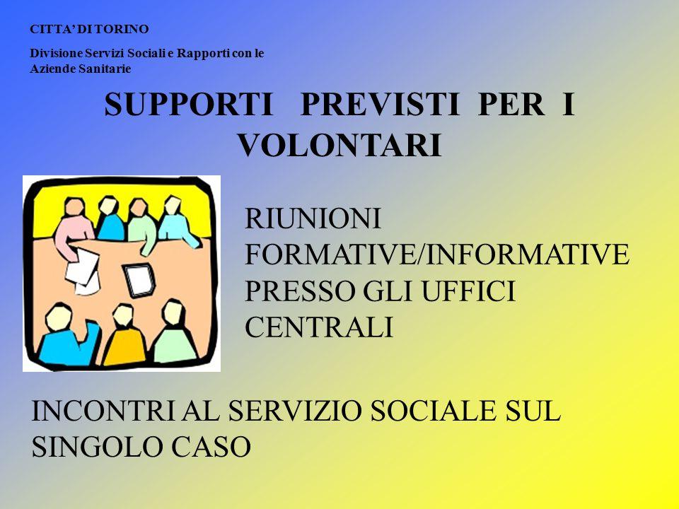 CITTA' DI TORINO Divisione Servizi Sociali e Rapporti con le Aziende Sanitarie SUPPORTI PREVISTI PER I VOLONTARI RIUNIONI FORMATIVE/INFORMATIVE PRESSO