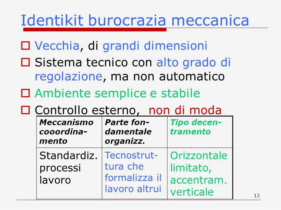 13 Identikit burocrazia meccanica  Vecchia, di grandi dimensioni  Sistema tecnico con alto grado di regolazione, ma non automatico  Ambiente sempli