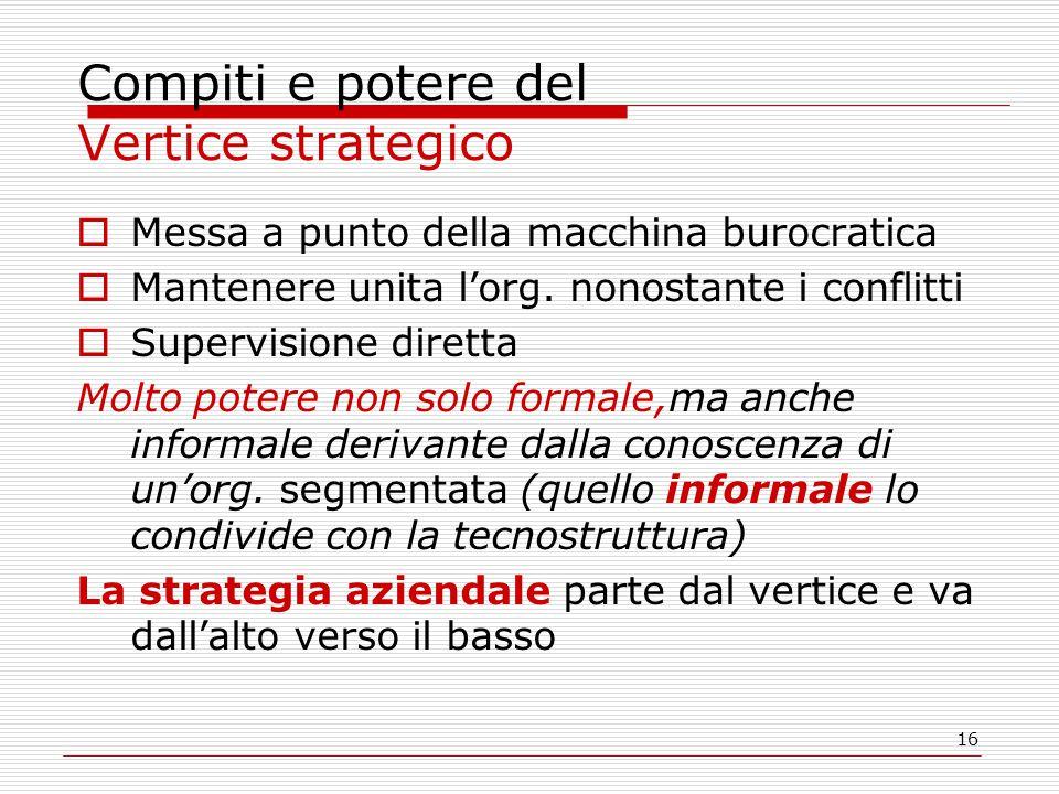 16 Compiti e potere del Vertice strategico  Messa a punto della macchina burocratica  Mantenere unita l'org. nonostante i conflitti  Supervisione d