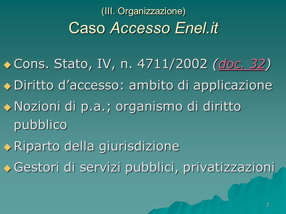 7 (III. Organizzazione) Caso Accesso Enel.it  Cons.