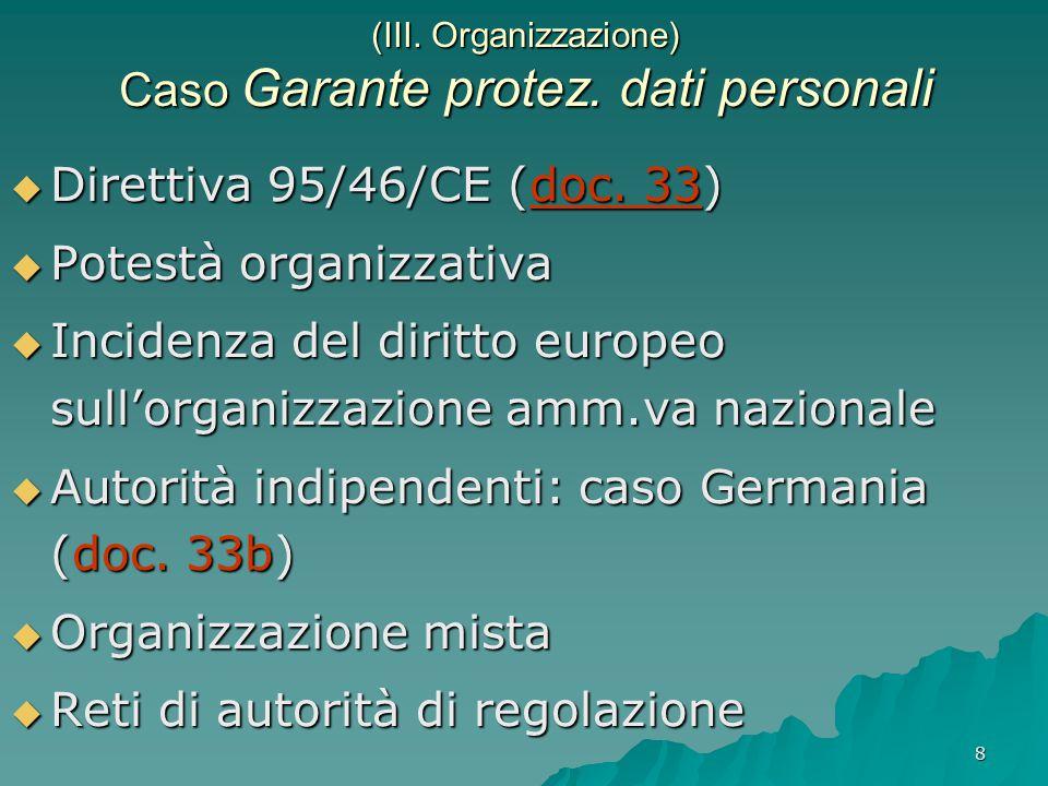 8 (III. Organizzazione) Caso Garante protez. dati personali  Direttiva 95/46/CE (doc.