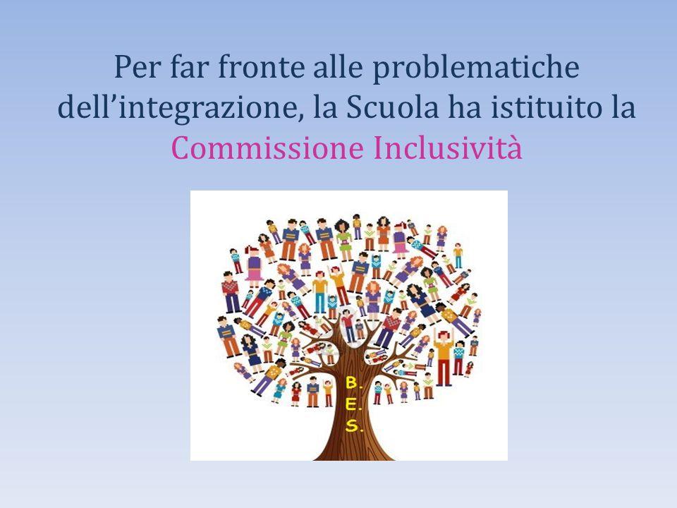 Per far fronte alle problematiche dell'integrazione, la Scuola ha istituito la Commissione Inclusività