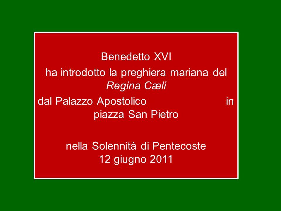 Benedetto XVI ha introdotto la preghiera mariana del Regina Cæli dal Palazzo Apostolico in piazza San Pietro nella Solennità di Pentecoste 12 giugno 2011 Benedetto XVI ha introdotto la preghiera mariana del Regina Cæli dal Palazzo Apostolico in piazza San Pietro nella Solennità di Pentecoste 12 giugno 2011