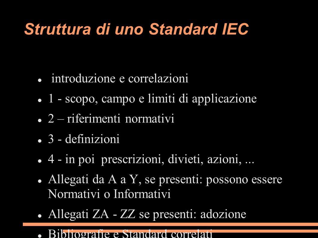 Struttura di uno Standard IEC introduzione e correlazioni 1 - scopo, campo e limiti di applicazione 2 – riferimenti normativi 3 - definizioni 4 - in p