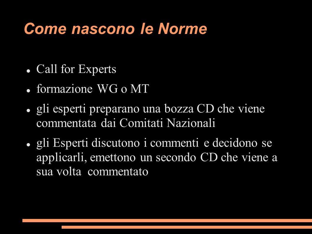 Come nascono le Norme Call for Experts formazione WG o MT gli esperti preparano una bozza CD che viene commentata dai Comitati Nazionali gli Esperti d