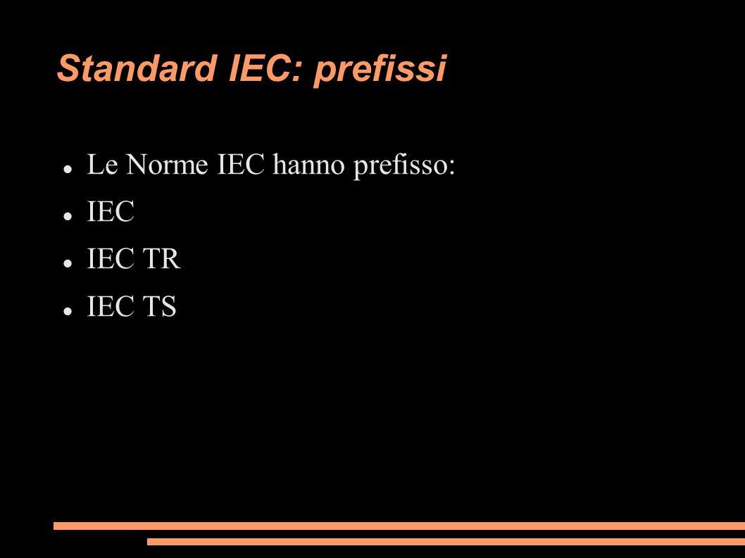Standard IEC: prefissi Le Norme IEC hanno prefisso: IEC IEC TR IEC TS