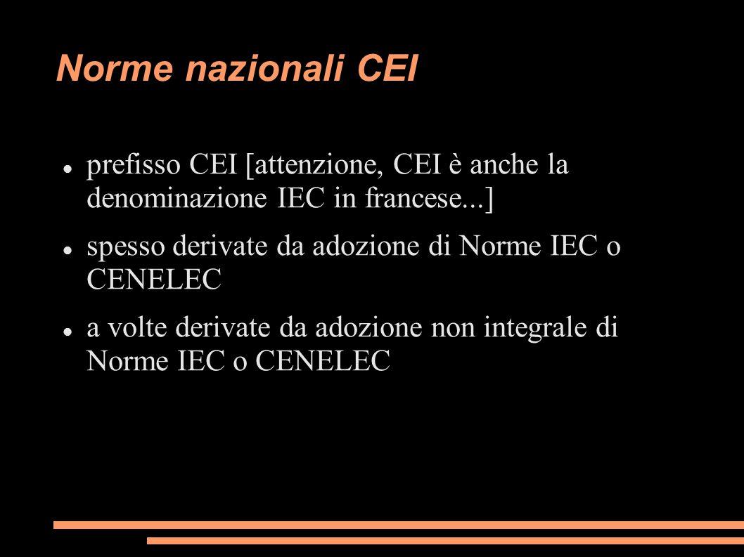 Norme nazionali CEI prefisso CEI [attenzione, CEI è anche la denominazione IEC in francese...] spesso derivate da adozione di Norme IEC o CENELEC a volte derivate da adozione non integrale di Norme IEC o CENELEC