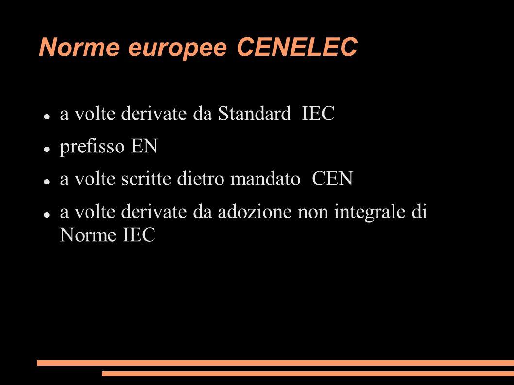 Norme europee CENELEC a volte derivate da Standard IEC prefisso EN a volte scritte dietro mandato CEN a volte derivate da adozione non integrale di No