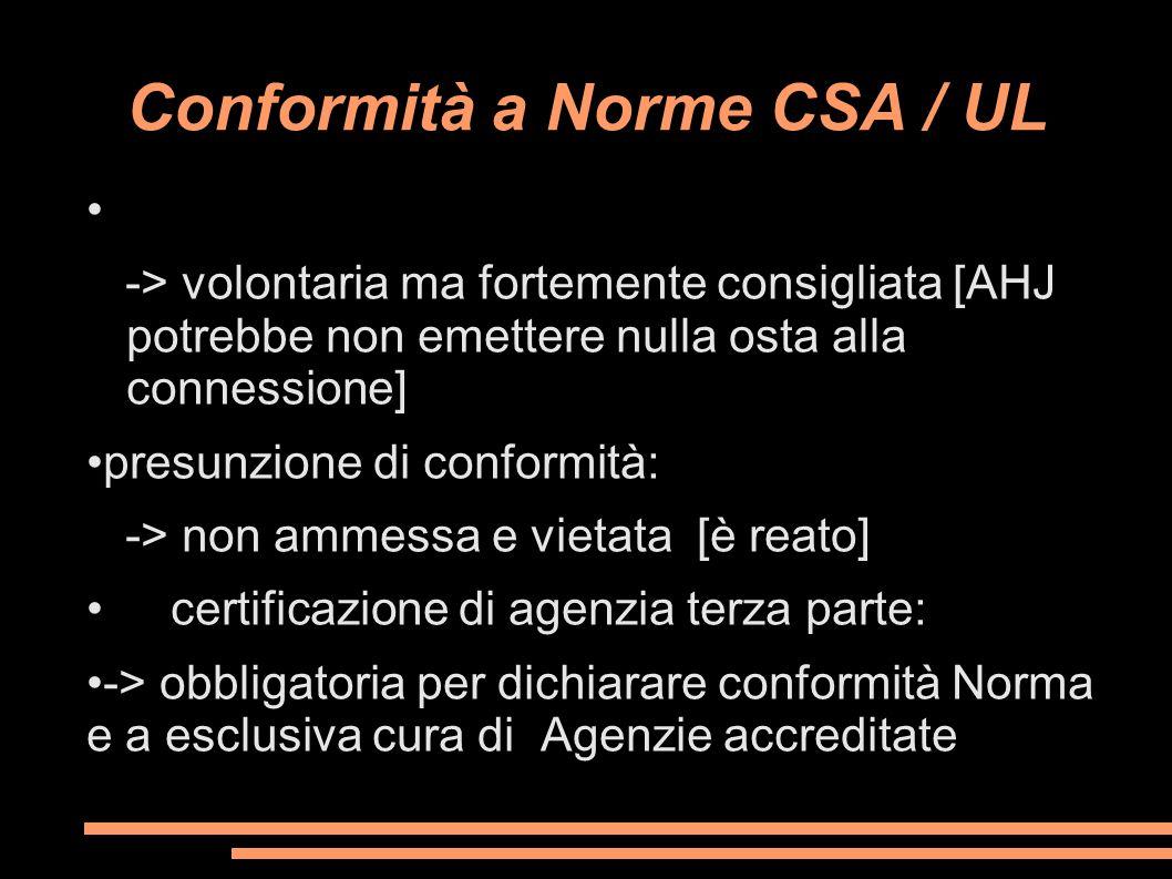 Conformità a Norme CSA / UL -> volontaria ma fortemente consigliata [AHJ potrebbe non emettere nulla osta alla connessione] presunzione di conformità: