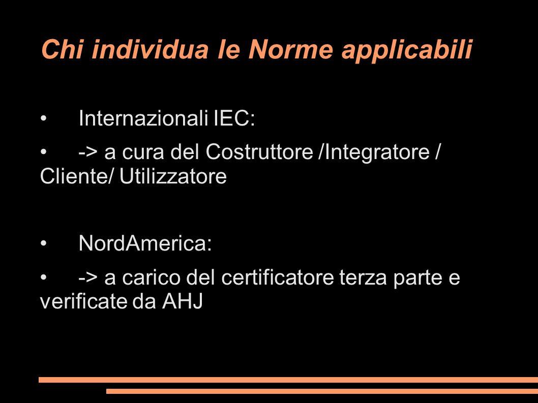 Chi individua le Norme applicabili Internazionali IEC: -> a cura del Costruttore /Integratore / Cliente/ Utilizzatore NordAmerica: -> a carico del cer
