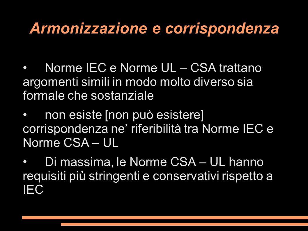 Armonizzazione e corrispondenza Norme IEC e Norme UL – CSA trattano argomenti simili in modo molto diverso sia formale che sostanziale non esiste [non
