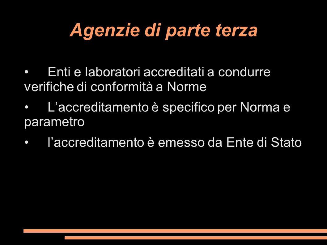 Agenzie di parte terza Enti e laboratori accreditati a condurre verifiche di conformità a Norme L'accreditamento è specifico per Norma e parametro l'a