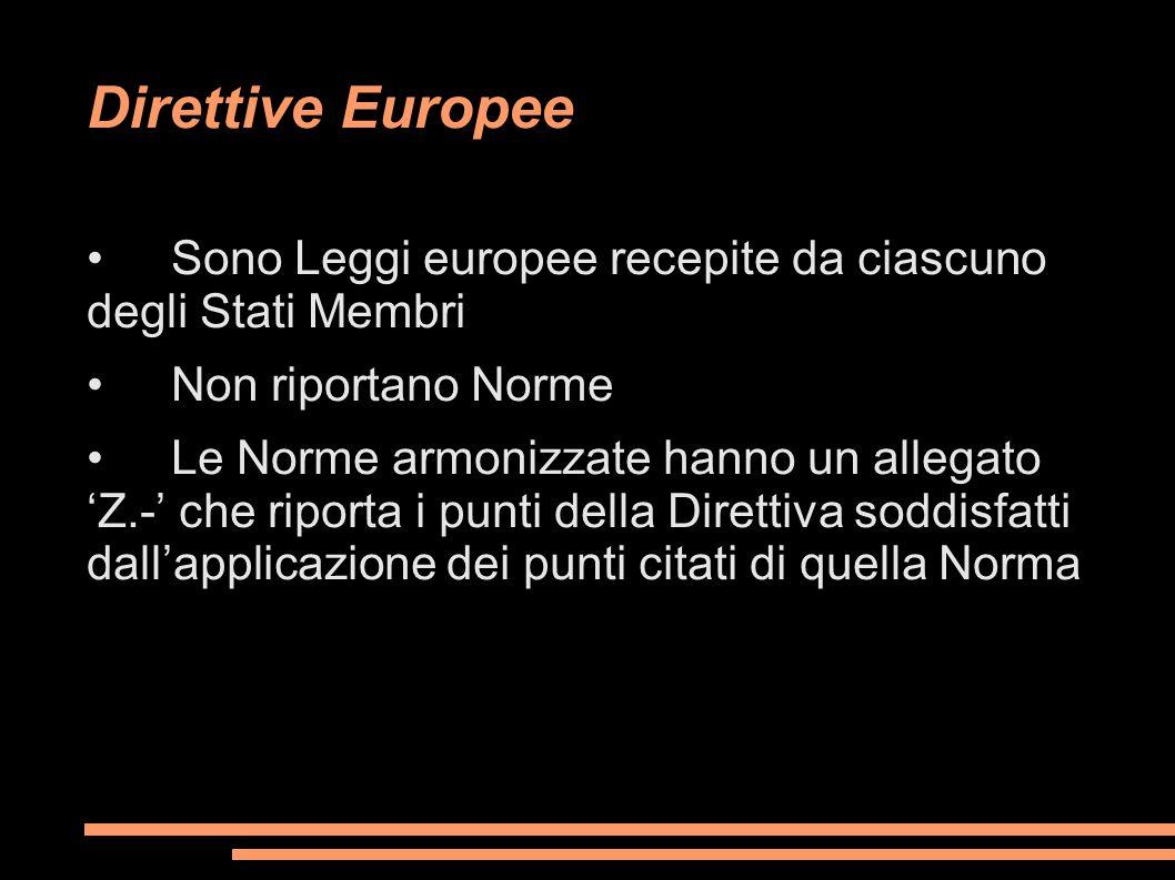 Direttive Europee Sono Leggi europee recepite da ciascuno degli Stati Membri Non riportano Norme Le Norme armonizzate hanno un allegato 'Z.-' che ripo