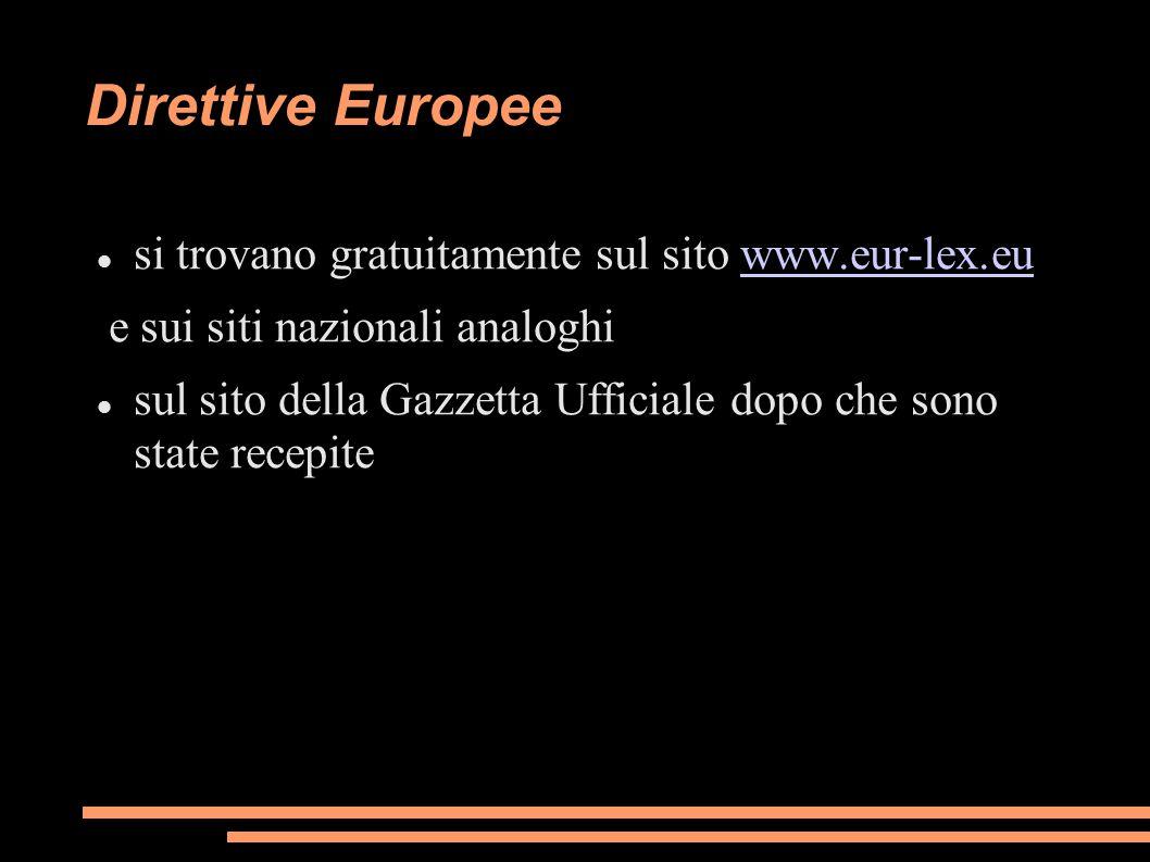 Direttive Europee si trovano gratuitamente sul sito www.eur-lex.euwww.eur-lex.eu e sui siti nazionali analoghi sul sito della Gazzetta Ufficiale dopo