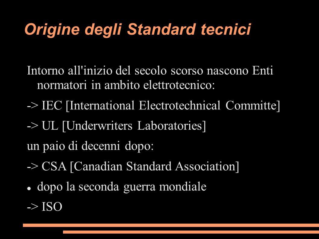 Origine degli Standard tecnici Intorno all'inizio del secolo scorso nascono Enti normatori in ambito elettrotecnico: -> IEC [International Electrotech