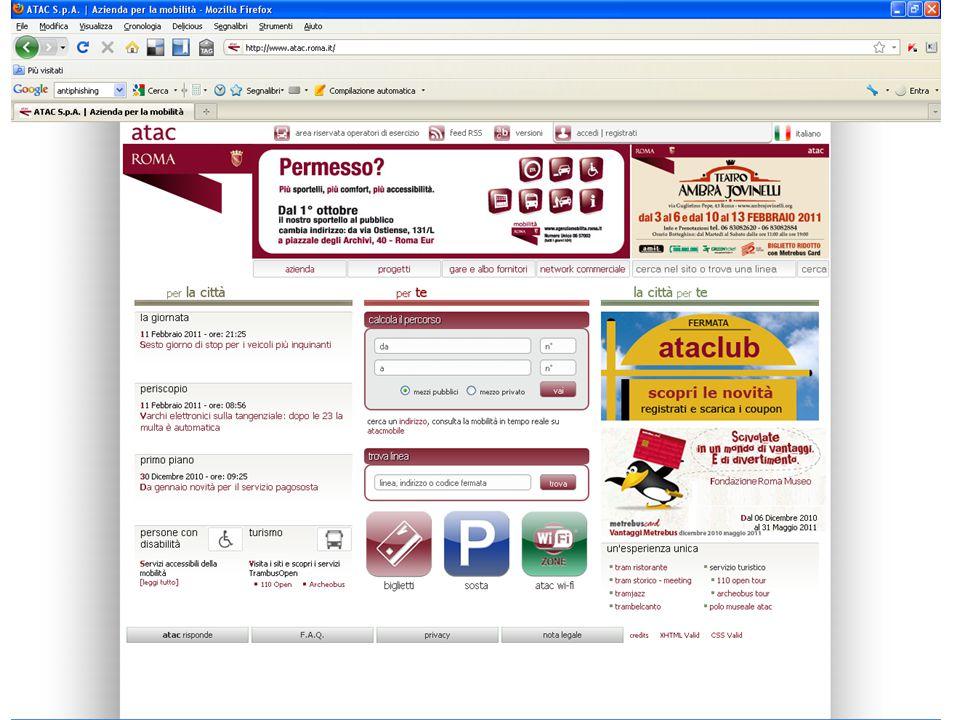 Attività: 1.navigare sul sito antiphishing Italia e cercare i video che parlano del phishing 2.navigare sul sito del Comune di Roma e cercare le modalità di identificazione al portale le agenzie ed aziende del Comune 3.soffermarsi su Calcola percorso di ATAC