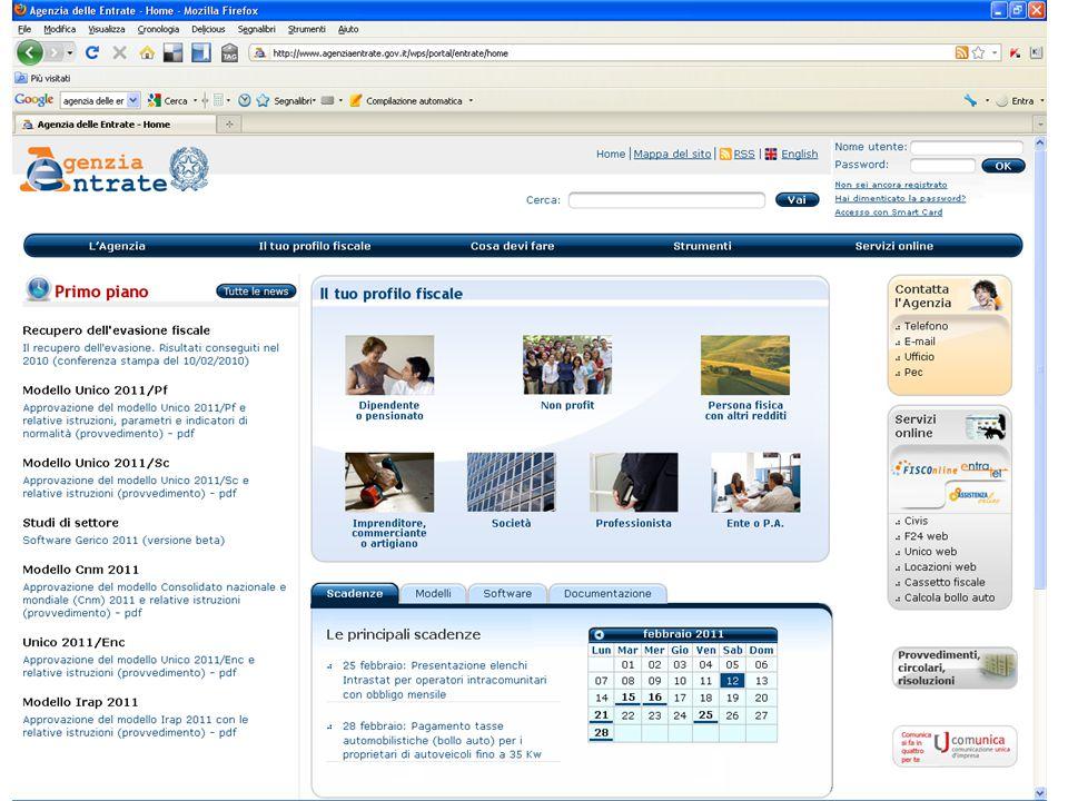 Attività: 1.trovare sul sito dell'Agenzia delle Entrate i servizi on line senza registrazione 2.trovare sul sito dell'Agenzia delle Entrate i servizi on line con registrazione