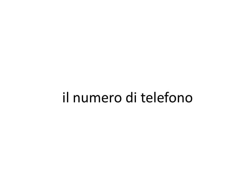 il numero di telefono