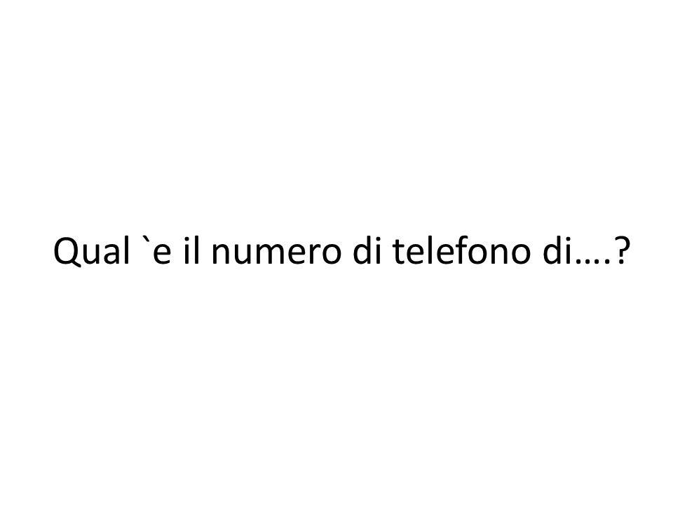 Qual `e il numero di telefono di….?