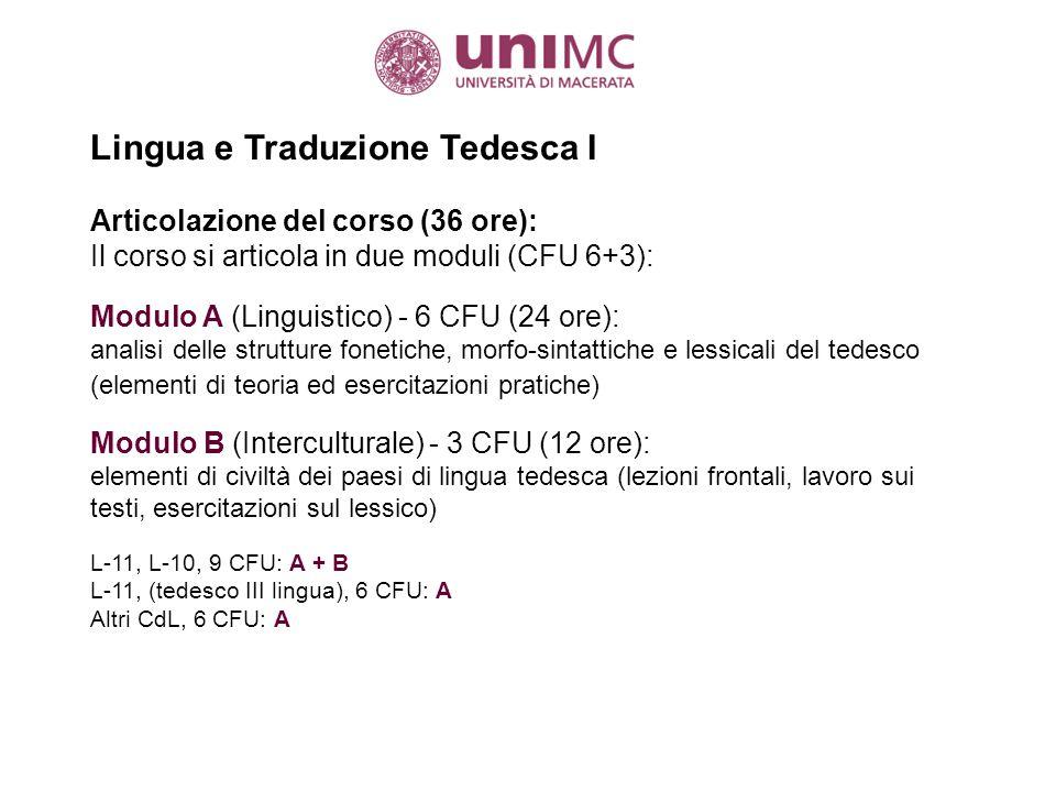 Lingua e Traduzione Tedesca I a.a.