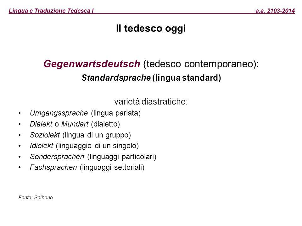 Il tedesco oggi Gegenwartsdeutsch (tedesco contemporaneo): Standardsprache (lingua standard) varietà diastratiche: Umgangssprache (lingua parlata) Dia