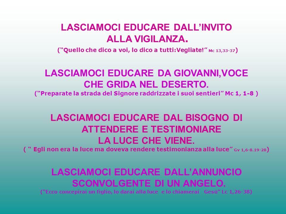 LASCIAMOCI EDUCARE DALL'INVITO ALLA VIGILANZA.