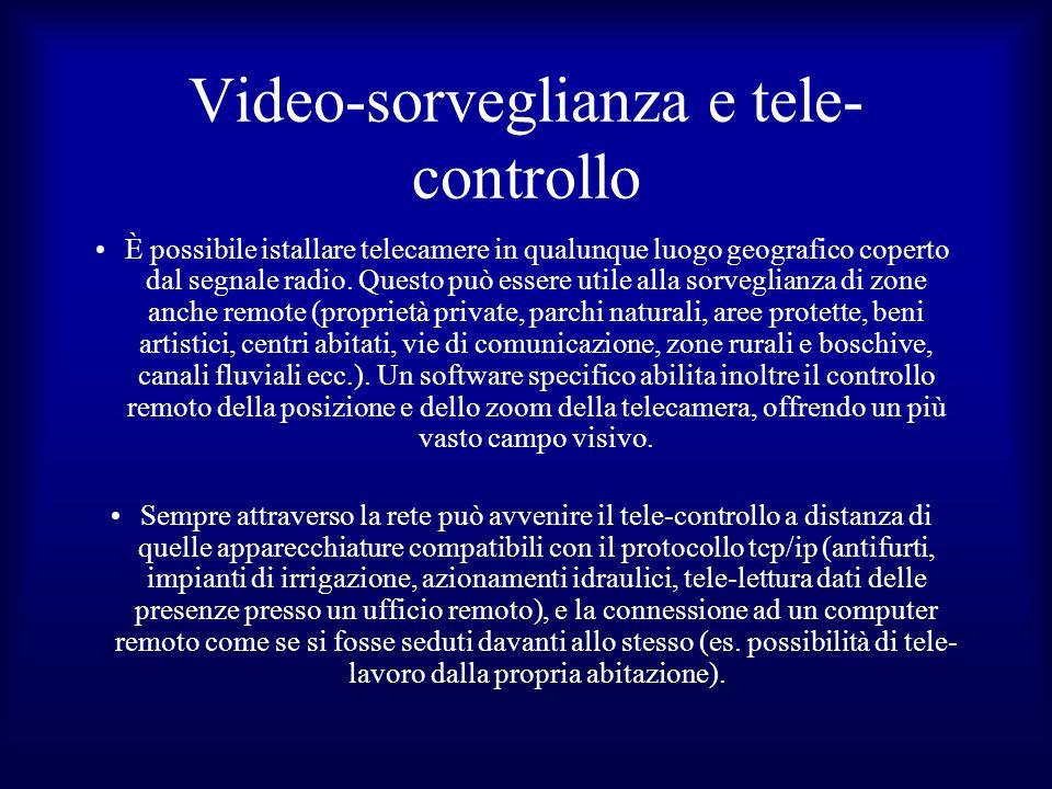 Video-sorveglianza e tele- controllo È possibile istallare telecamere in qualunque luogo geografico coperto dal segnale radio. Questo può essere utile