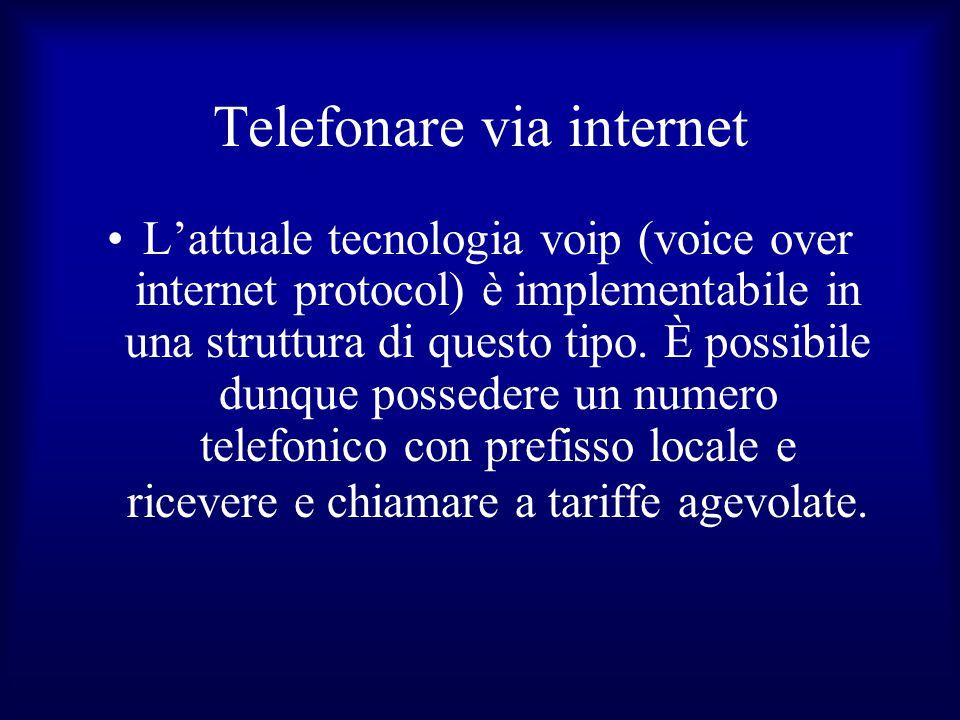 Telefonare via internet L'attuale tecnologia voip (voice over internet protocol) è implementabile in una struttura di questo tipo. È possibile dunque