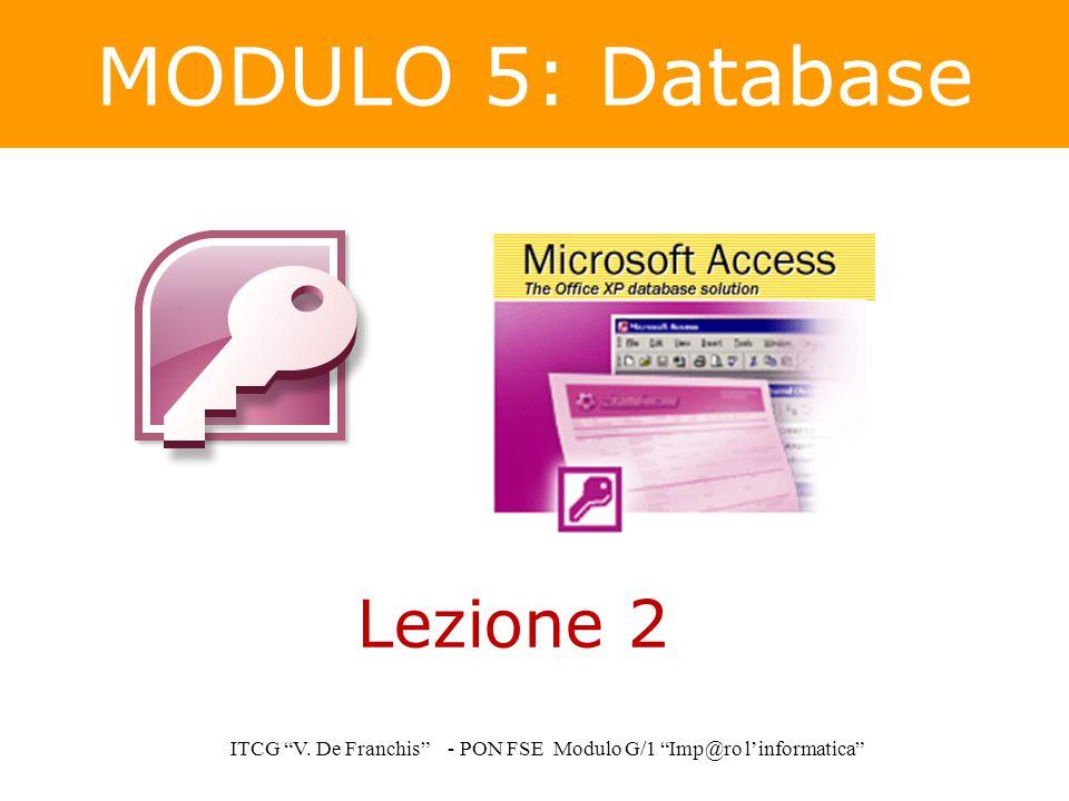 """MODULO 5: Database ITCG """"V. De Franchis"""" - PON FSE Modulo G/1 """"Imp@ro l'informatica"""" Lezione 2"""