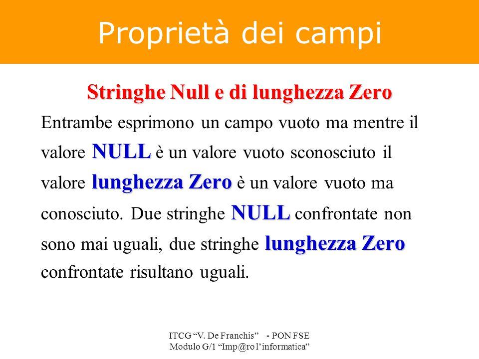 Proprietà dei campi Stringhe Null e di lunghezza Zero NULL lunghezza Zero NULL lunghezza Zero Entrambe esprimono un campo vuoto ma mentre il valore NU