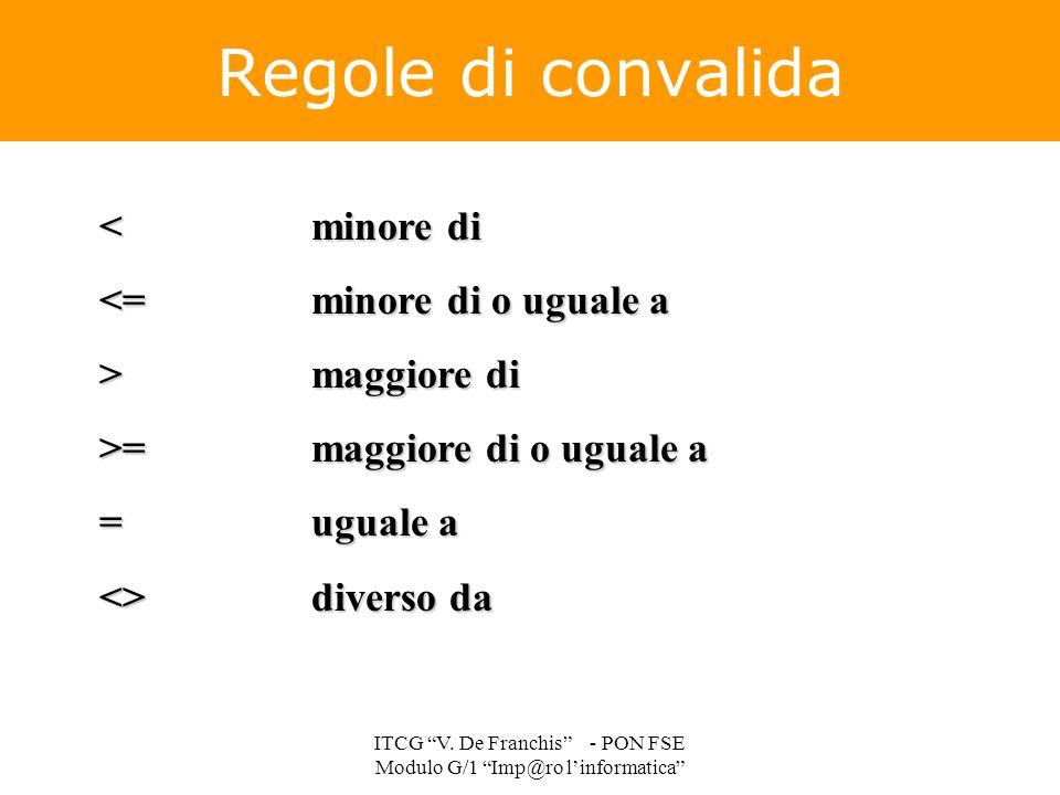 """<minore di <=minore di o uguale a >maggiore di >=maggiore di o uguale a =uguale a <>diverso da Regole di convalida ITCG """"V. De Franchis"""" - PON FSE Mod"""