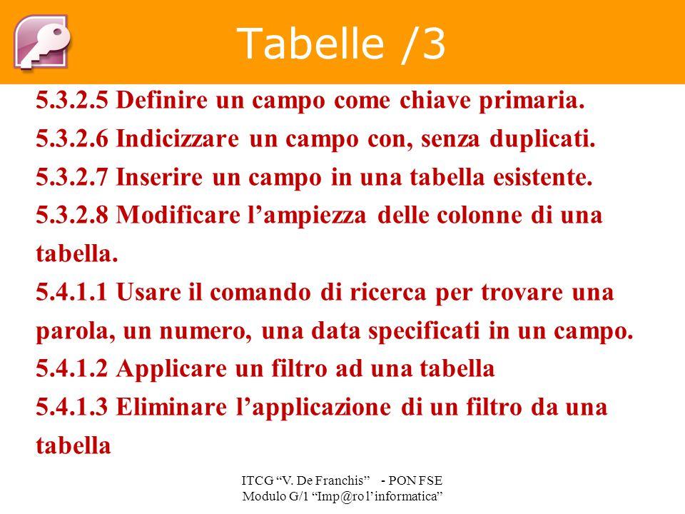 5.3.2.5 Definire un campo come chiave primaria. 5.3.2.6 Indicizzare un campo con, senza duplicati. 5.3.2.7 Inserire un campo in una tabella esistente.