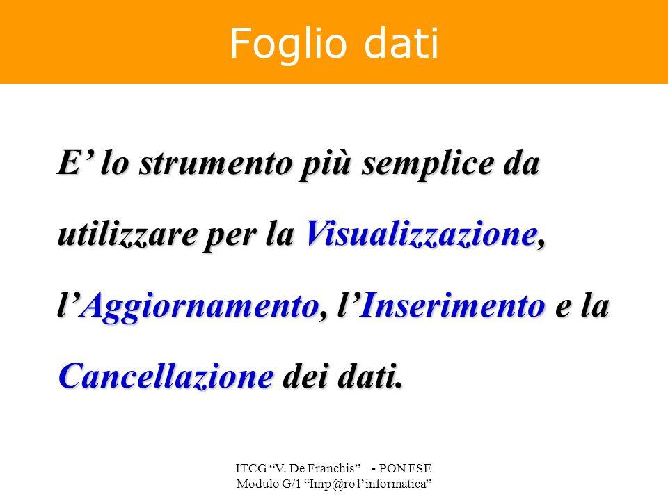 """E' lo strumento più semplice da utilizzare per la Visualizzazione, l'Aggiornamento, l'Inserimento e la Cancellazione dei dati. Foglio dati ITCG """"V. De"""