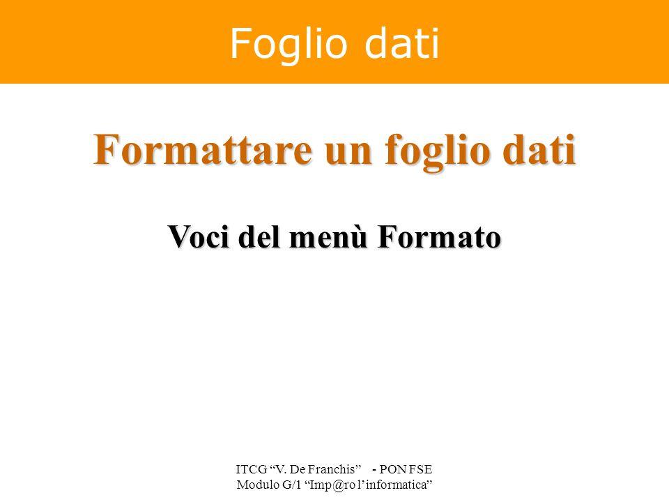 """Formattare un foglio dati Voci del menù Formato Foglio dati ITCG """"V. De Franchis"""" - PON FSE Modulo G/1 """"Imp@ro l'informatica"""""""