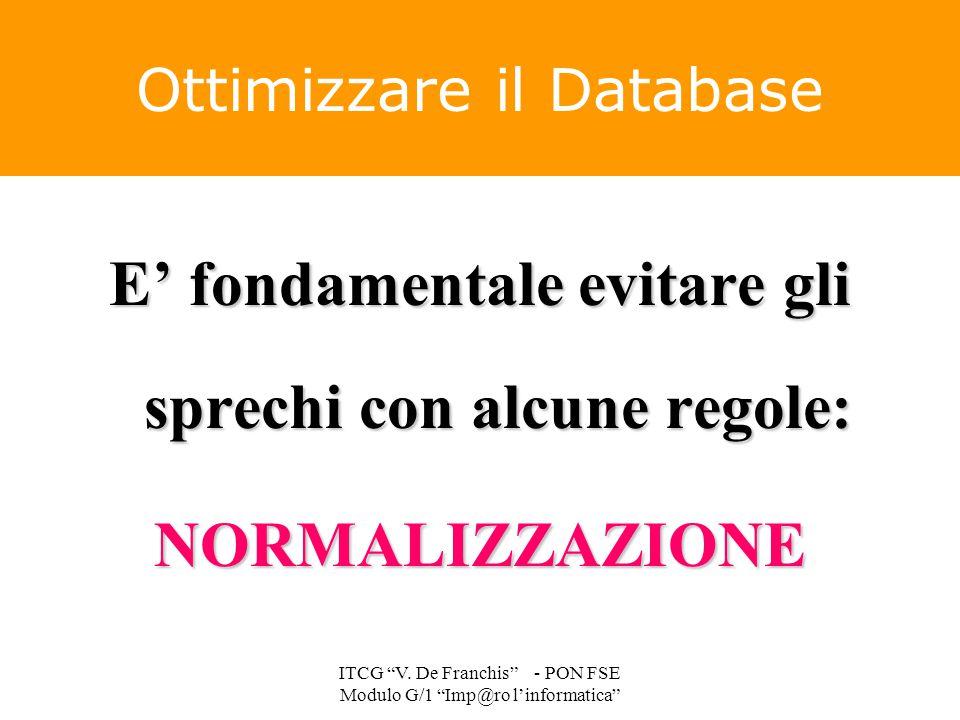 """E' fondamentale evitare gli sprechi con alcune regole: NORMALIZZAZIONE Ottimizzare il Database ITCG """"V. De Franchis"""" - PON FSE Modulo G/1 """"Imp@ro l'in"""