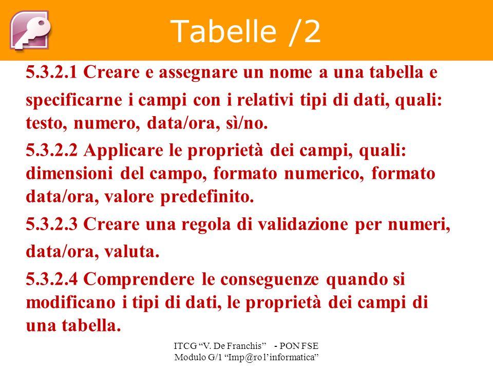 5.3.2.1 Creare e assegnare un nome a una tabella e specificarne i campi con i relativi tipi di dati, quali: testo, numero, data/ora, sì/no. 5.3.2.2 Ap