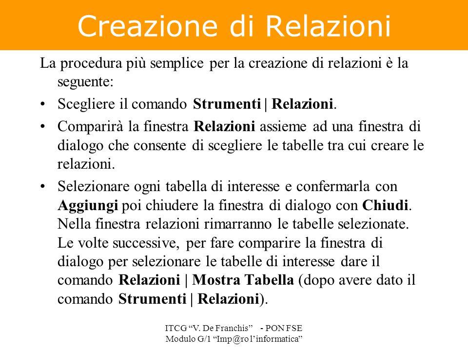 """Creazione di Relazioni ITCG """"V. De Franchis"""" - PON FSE Modulo G/1 """"Imp@ro l'informatica"""" La procedura più semplice per la creazione di relazioni è la"""