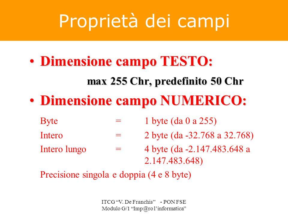 Proprietà dei campi Dimensione campo TESTO:Dimensione campo TESTO: max 255 Chr, predefinito 50 Chr Dimensione campo NUMERICO:Dimensione campo NUMERICO