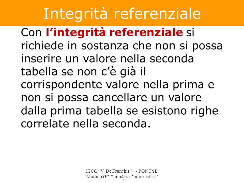 Con l'integrità referenziale si richiede in sostanza che non si possa inserire un valore nella seconda tabella se non c'è già il corrispondente valore